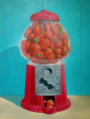 chuck monroe's sculpture featuring strawberries in a gumball machine