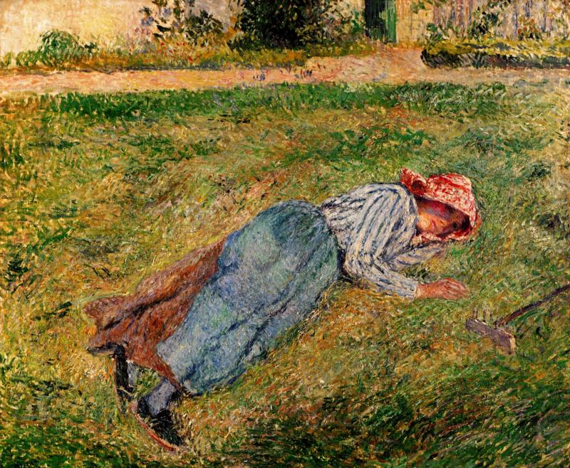 Camille-Pissarro-Peasant-woman-lying-in-the-grass
