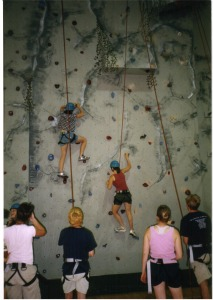 climbers on the wall at a climbing gym
