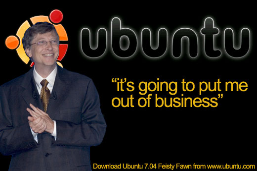Bill Gates, smiling about how Ubuntu is going to put him out of business