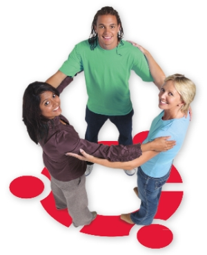 three people making the Ubuntu symbol by holding hands in a circle