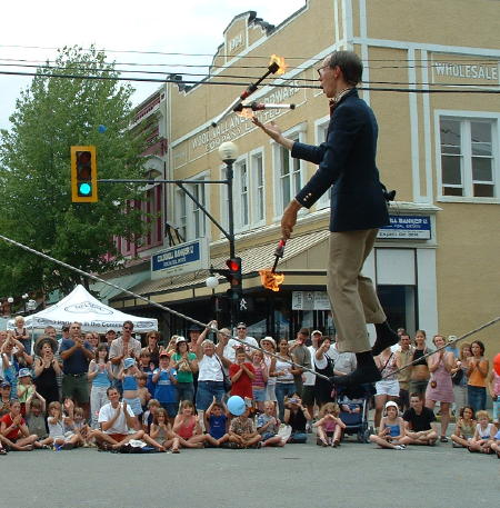street performer juggling on a tight rope