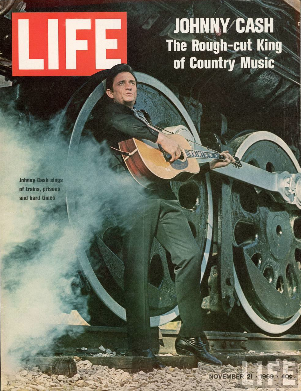 Johnny Cash in front of a train, on the cover of Life Magazine