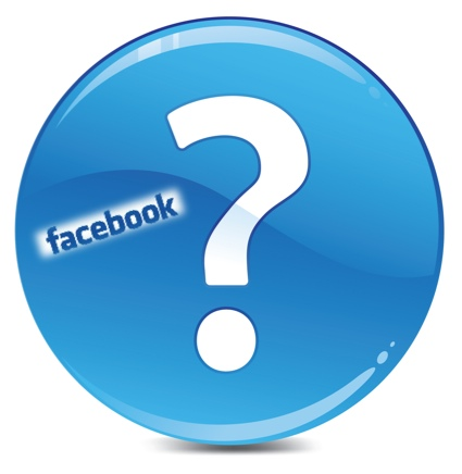 Big Question mark in a blue circle, with a Facebook logo in it off to the left