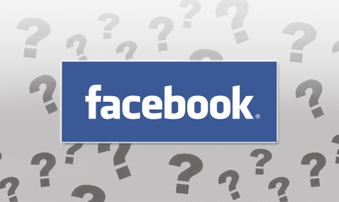 Facebook logo surrounded by question marks