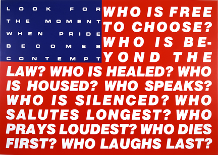 postmodern flag, by Barbara Kruger