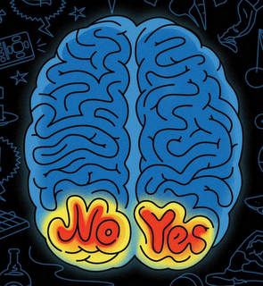 brain with the words Yes and No on opposite hemispheres