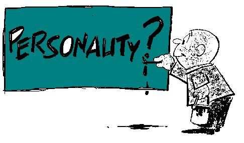 "the word ""personality"" being painted on a big board by a cartoon figure"