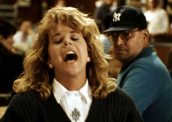 Meg Ryan faking an orgasm in When Harry Met Sally