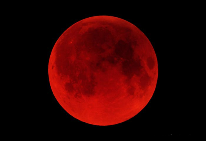 the moon, red