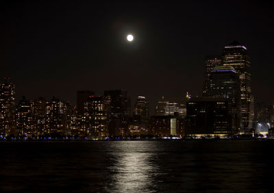 the moon over a cityscape
