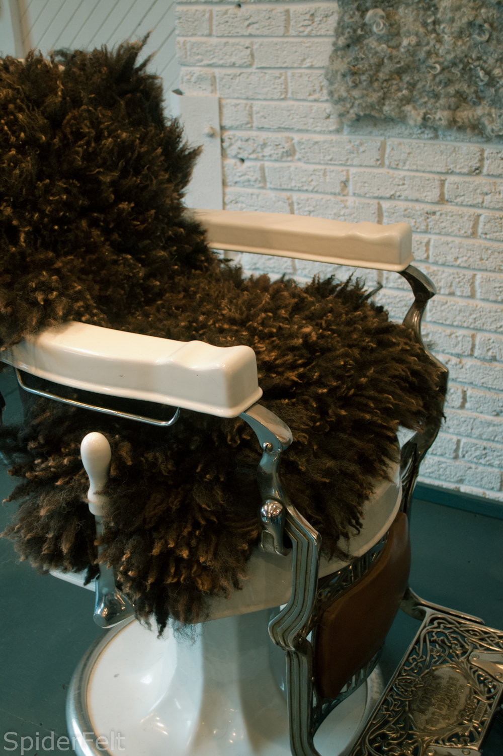 fur covered barber chair