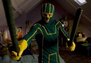 The main character looks goofy in his costume in Kickass