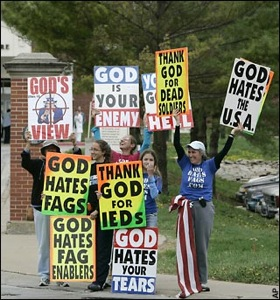 Westboro Baptist Church engaging in a protest