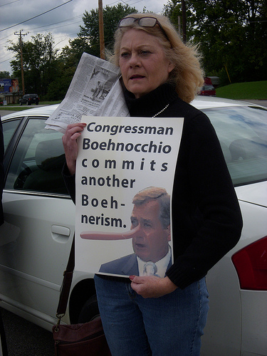A health care reform protester